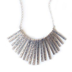 Hammered Silver Statement Fan Necklace
